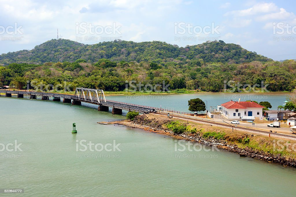 Shore of the Panama canal. The Panama railway. stock photo