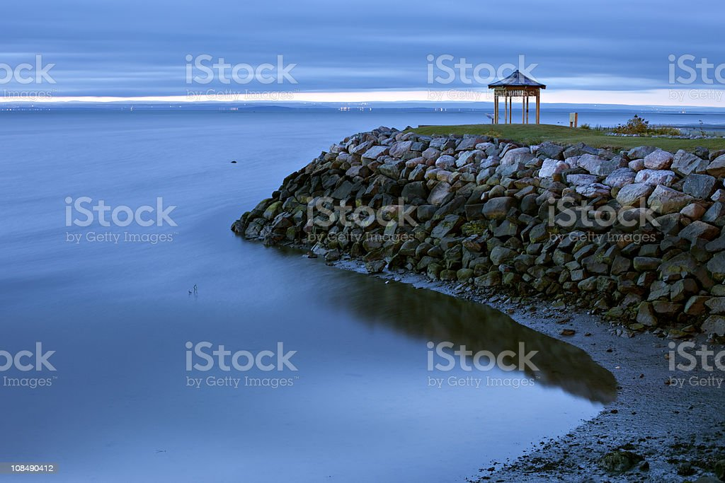 Shore of the Saint-Lawrence at dawn stock photo