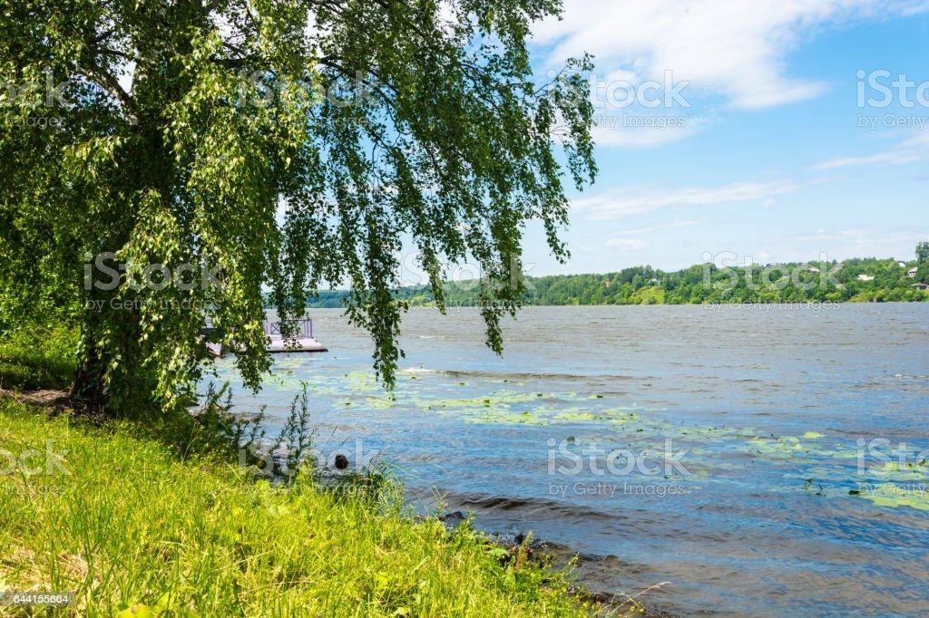 Shore of the Volga river in the morning sun. stock photo