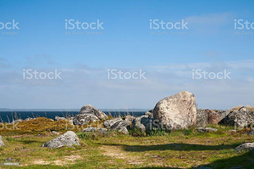 Shore of the White sea stock photo