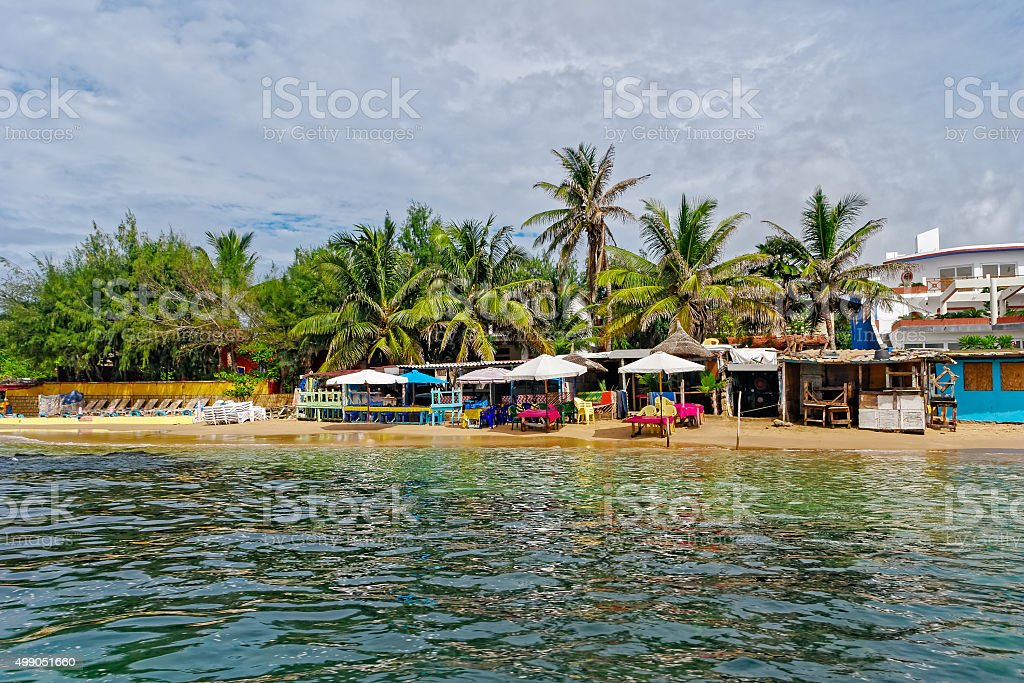 Shore of  tiny island of NGor in Atlantic ocean stock photo