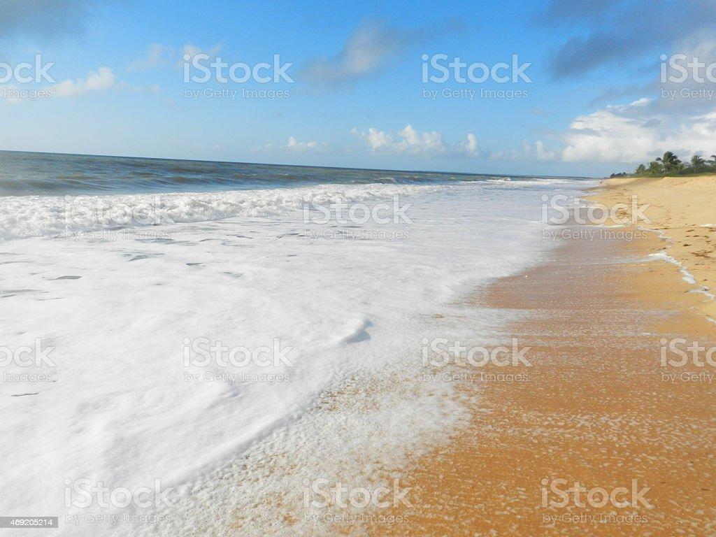 Shore side view of Praia Caraiva in Bahia stock photo