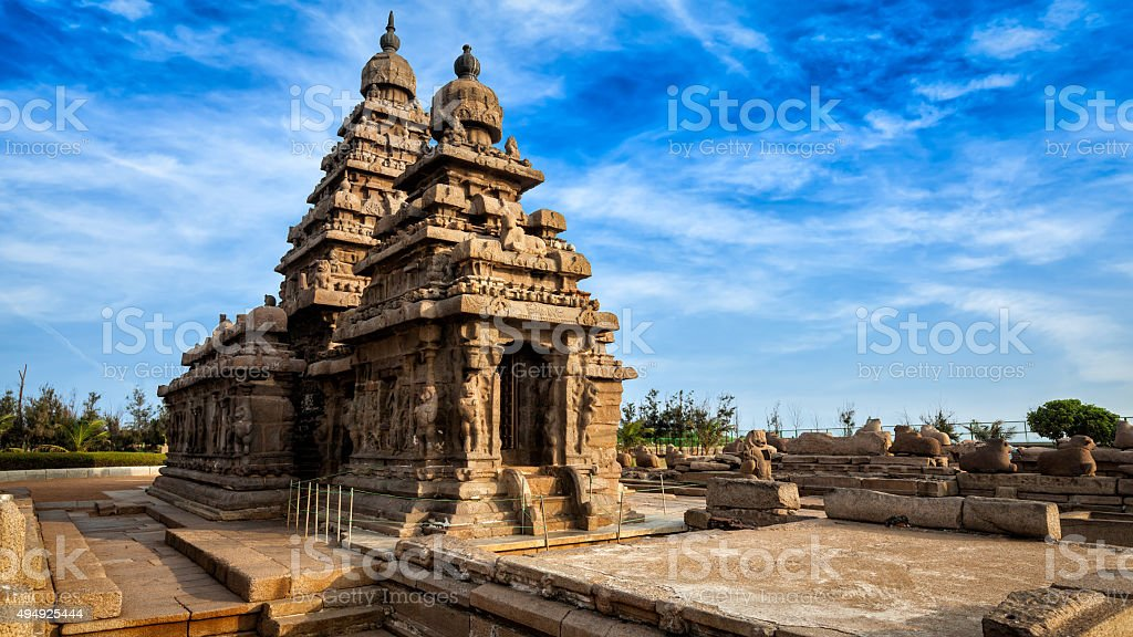 Shore temple in Mahabalipuram, Tamil Nadu, India stock photo