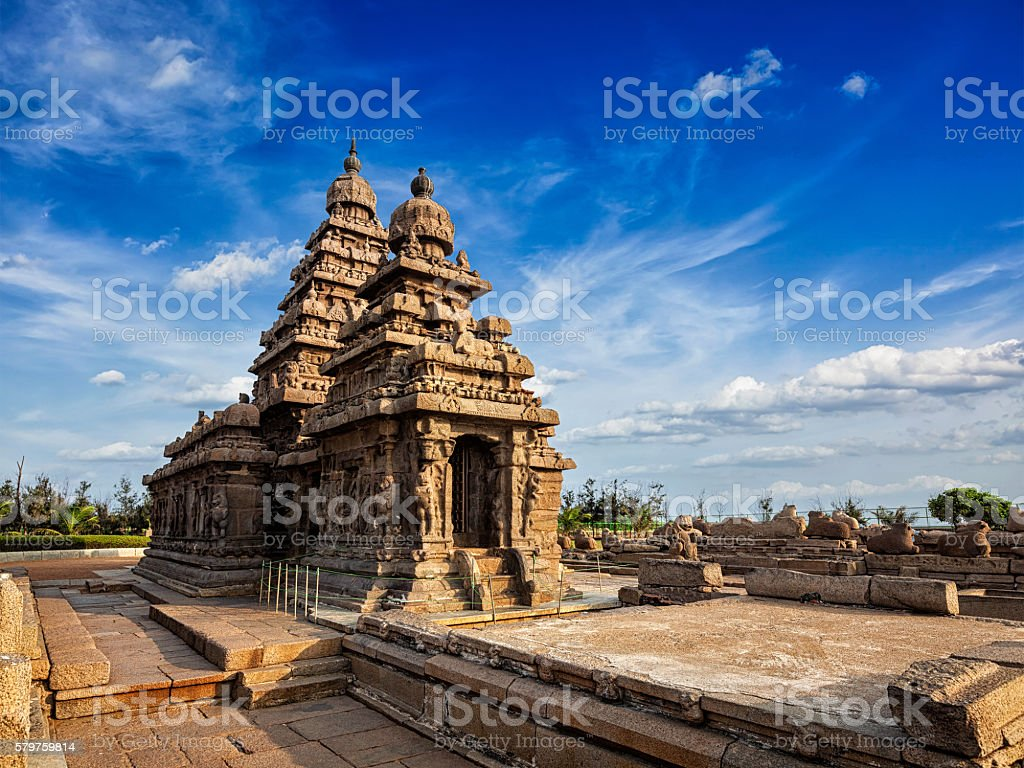 Shore temple - World heritage site in Mahabalipuram, Tamil Nad stock photo