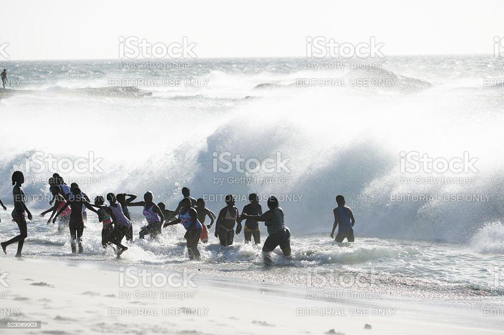 Shorebreak in Camps Bay stock photo