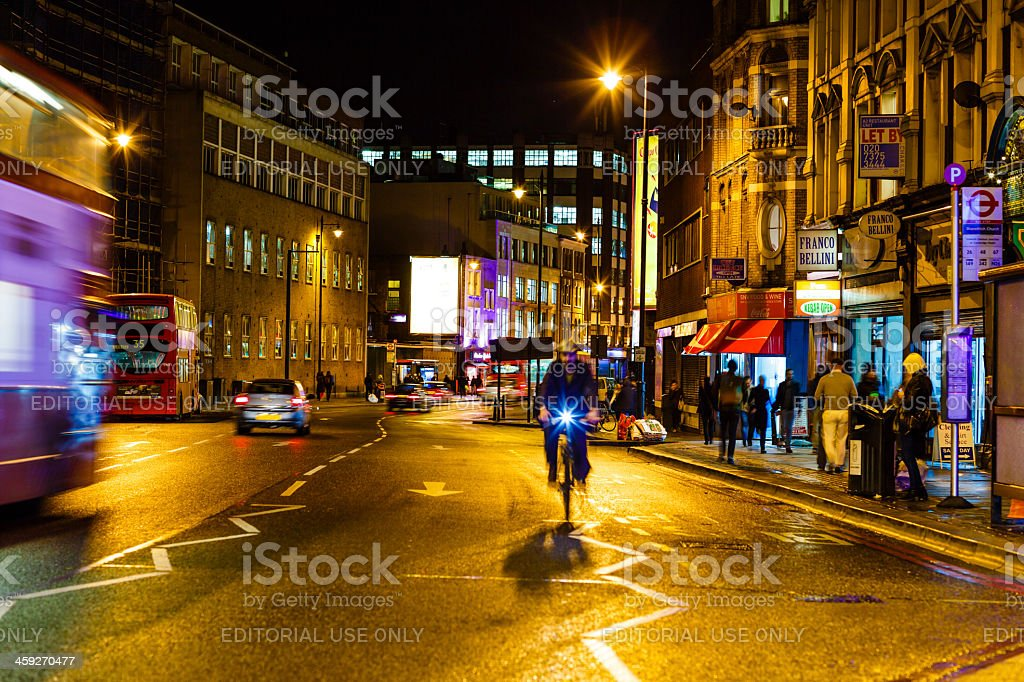 Shoreditch High Street, London at night royalty-free stock photo