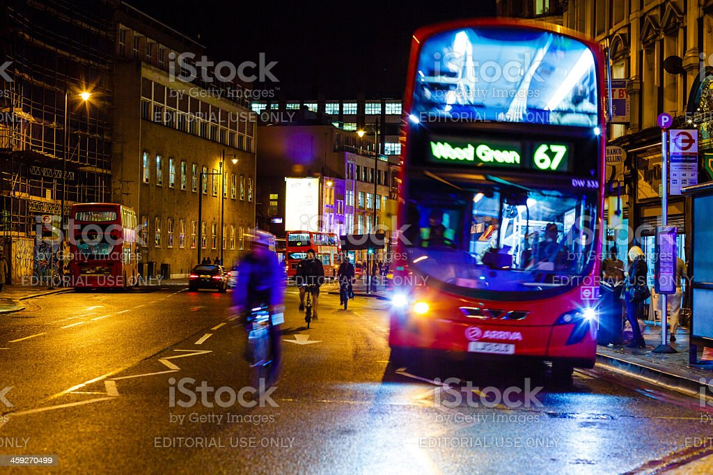Shoreditch High Street, London at night stock photo