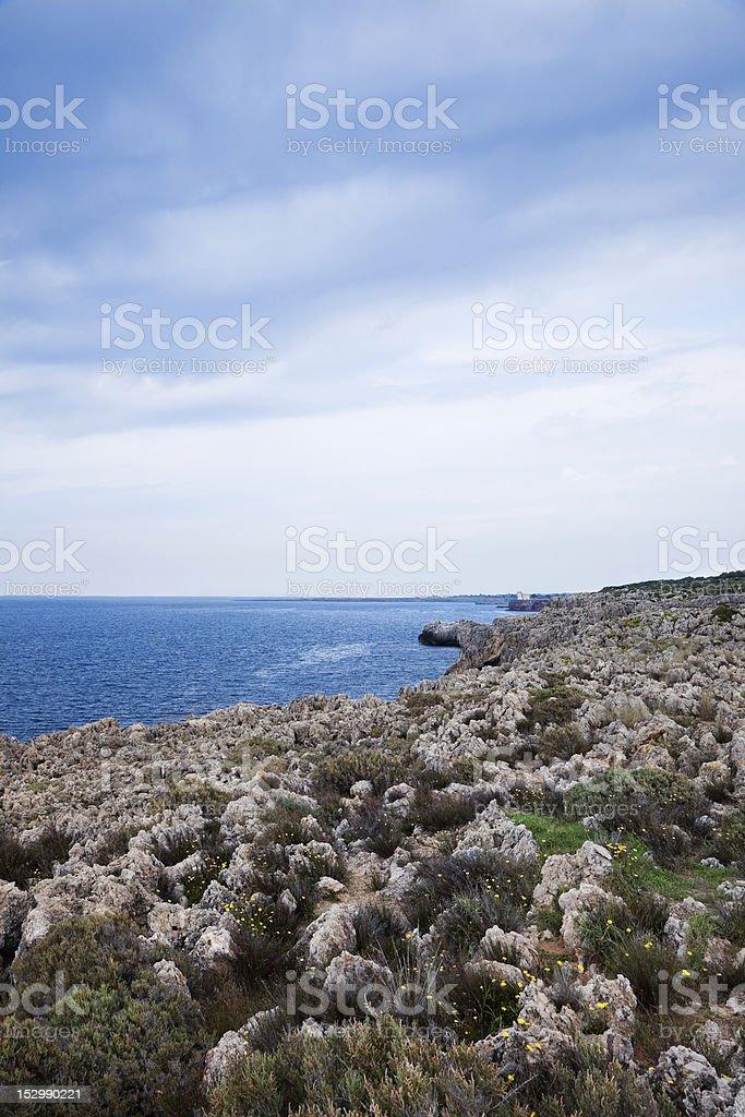 Shoreline along the Cape Rama Preserve of Sicily stock photo