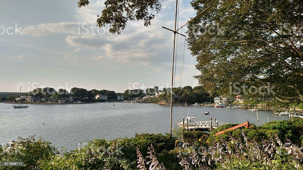 Shoreline at Harbor Island, Narragansett stock photo