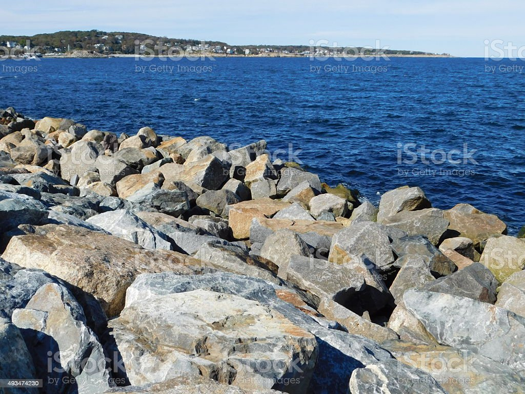 Shoreline in Rockport, Massachusetts stock photo