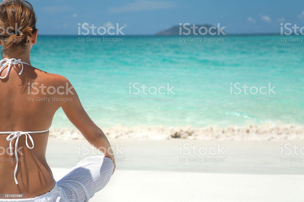 shoreline meditation royalty-free stock photo