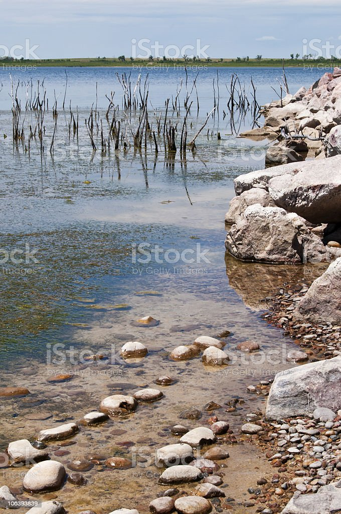 Shoreline of wildlife refuge lake stock photo