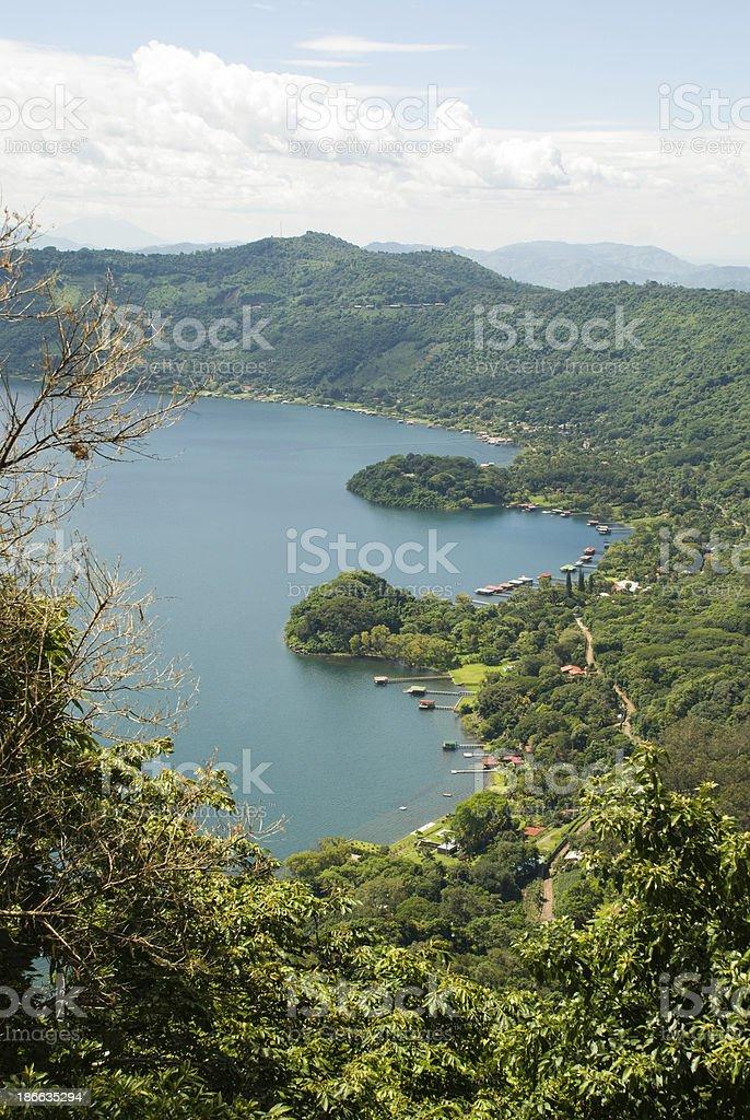 Shoreline Resorts Coatepeque Caldera Lake In El Salvador Central America royalty-free stock photo