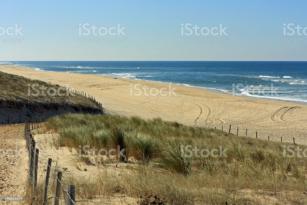 Shores of the Cote dArgent beach at Mimizan Plage stock photo