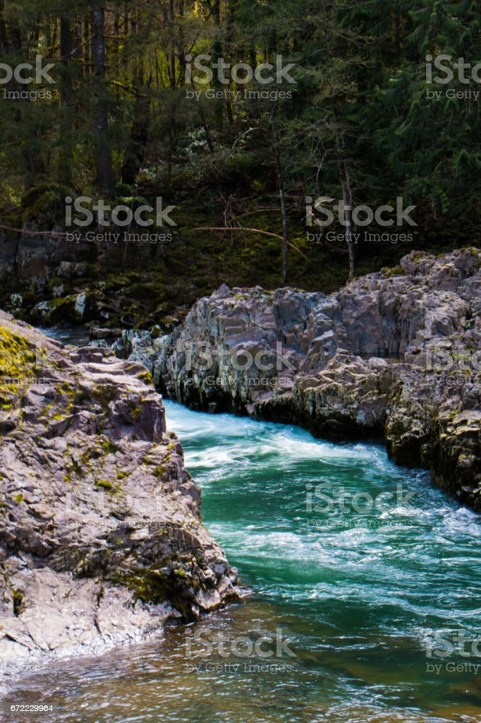 A short bend in the Lewis river creates a patch of rushing water. stock photo