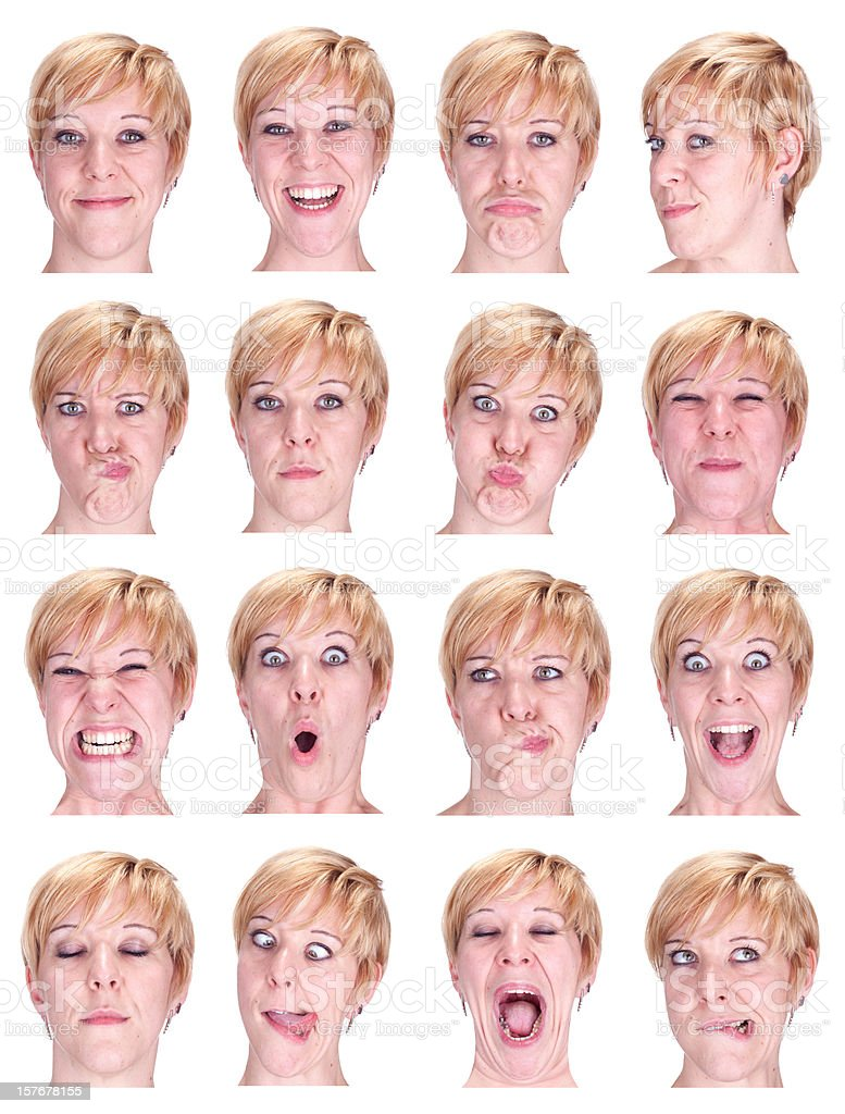 short blond hair woman emotion collection isolated on white royalty-free stock photo