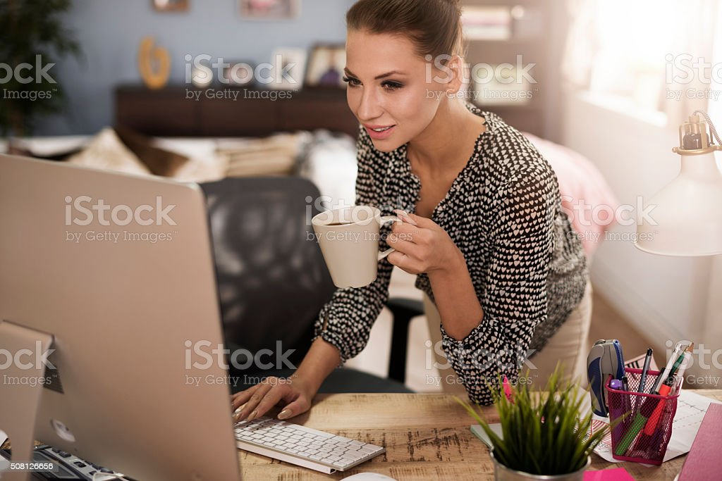 Short break for sip of hot coffee stock photo