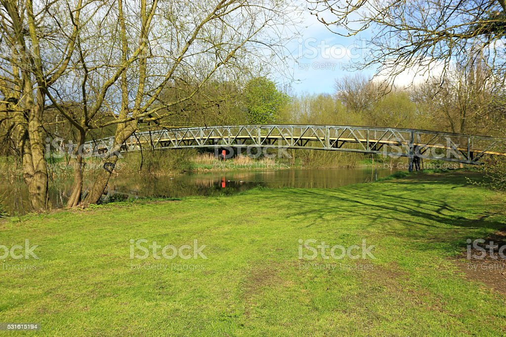 Short bridge over the river Great Ouse in Bedford stock photo