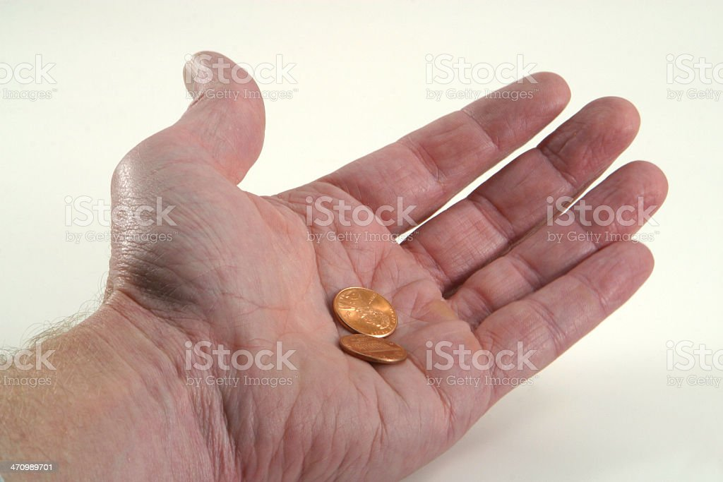Short Changed, Pennies in Hand stock photo