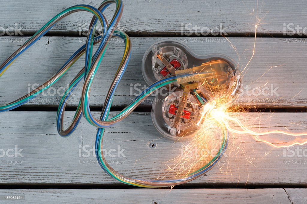 Short Circuit on Extention Cord stock photo