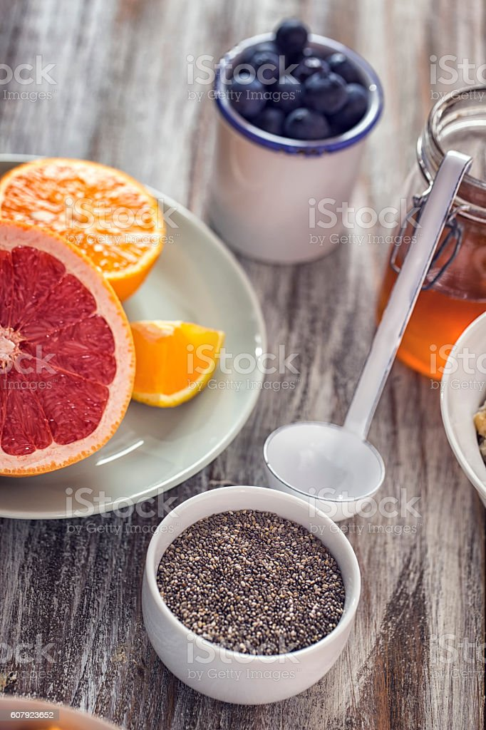 Short Grained Rice with Honey and Fresh Fruits stock photo