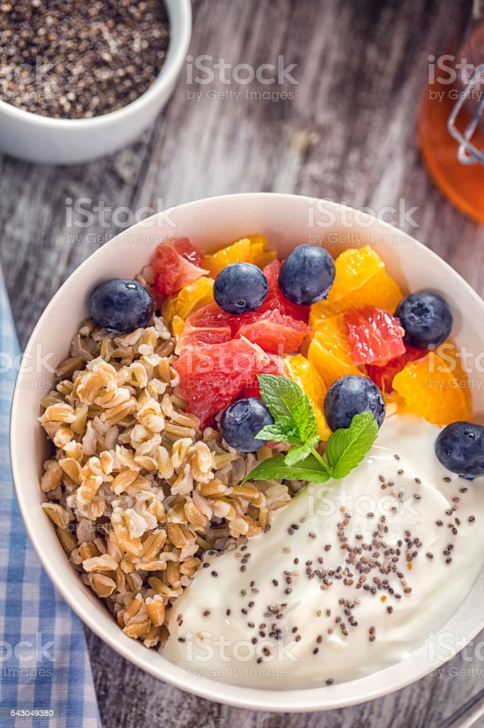 Short Grained Rice with Yoghurt and Fresh Fruits stock photo