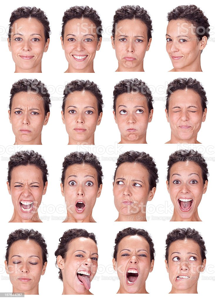 short hair brunette woman emotion collection isolated on white royalty-free stock photo