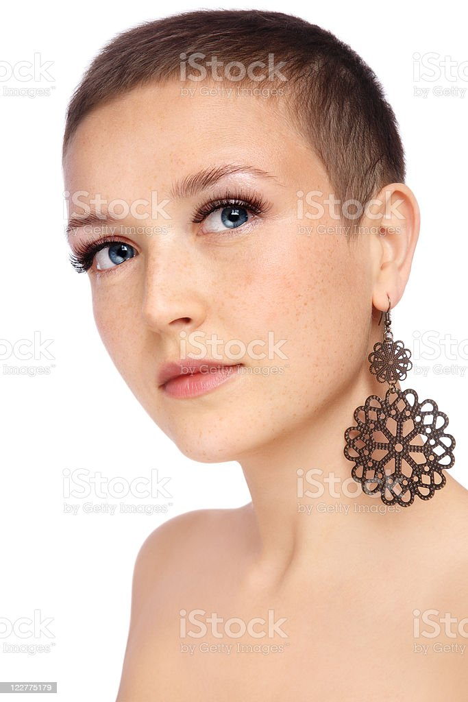 Short haircut stock photo