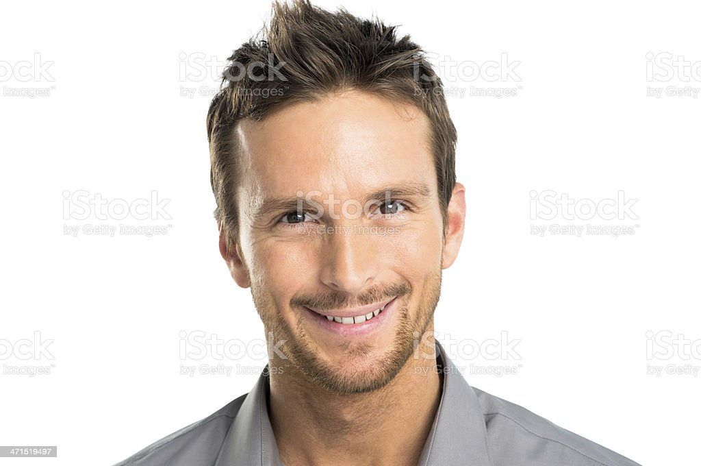 Short haired and lightly bearded man smiling stock photo