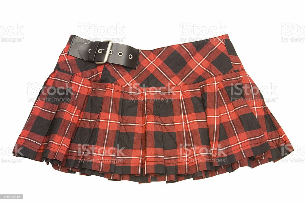 Short plaid skirt with black buckle royalty-free stock photo
