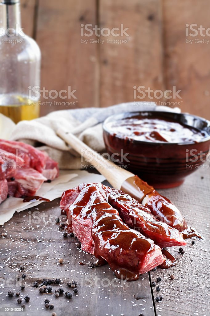 Short Ribs and Barbecue Sauce stock photo