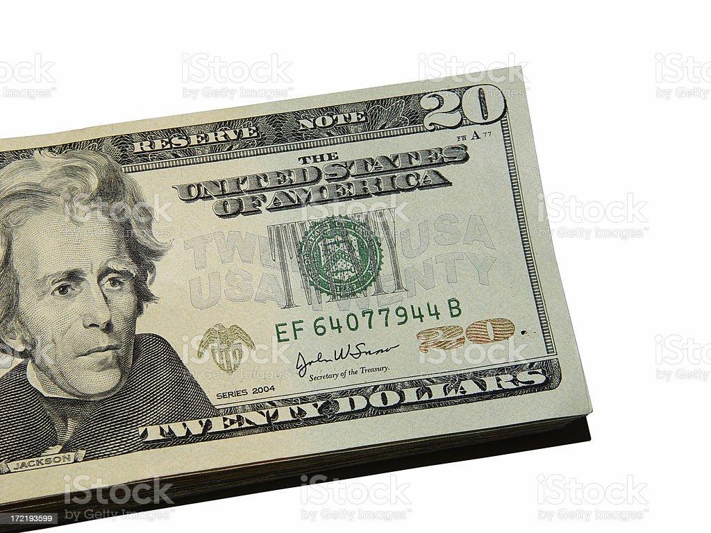 Short stacked $20's royalty-free stock photo