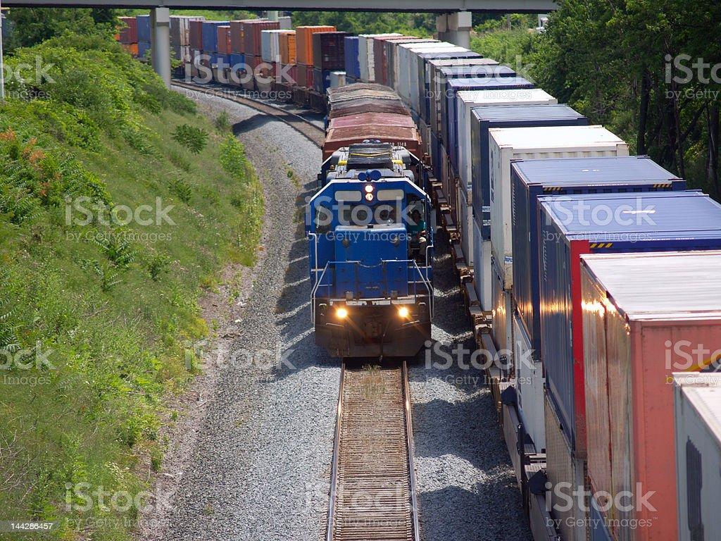 Short train beside long one stock photo
