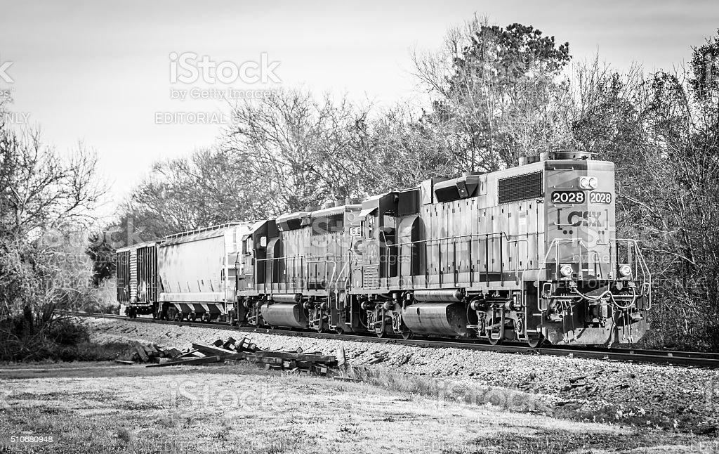 Short Train CSX Diesel Locomotive Black and White stock photo