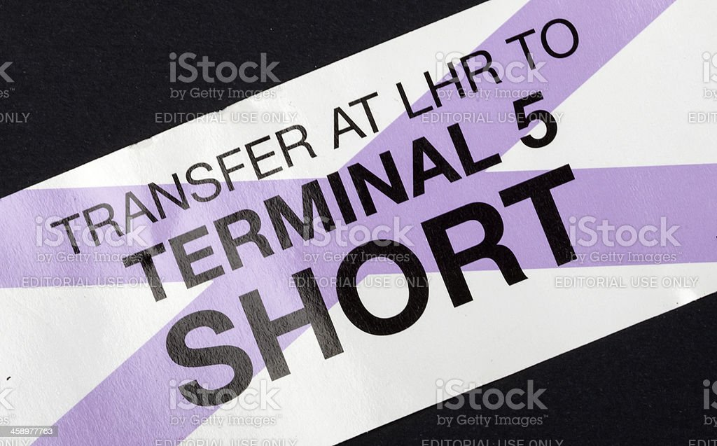 Short transfer airport ticket stock photo