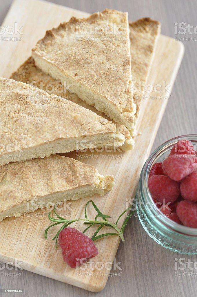 Shortbread Cake with Raspberries royalty-free stock photo