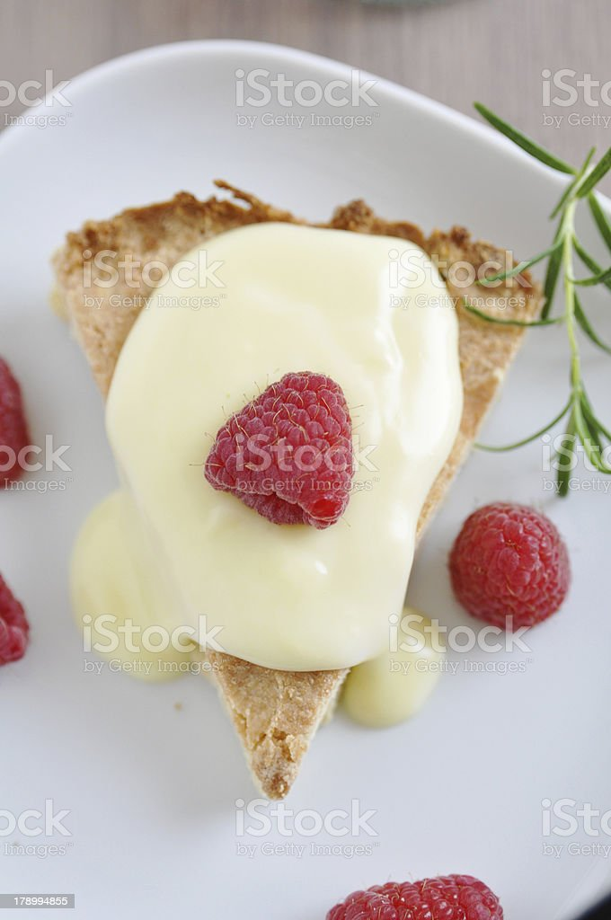 Shortbread Cake with Raspberries royalty-free stock photo