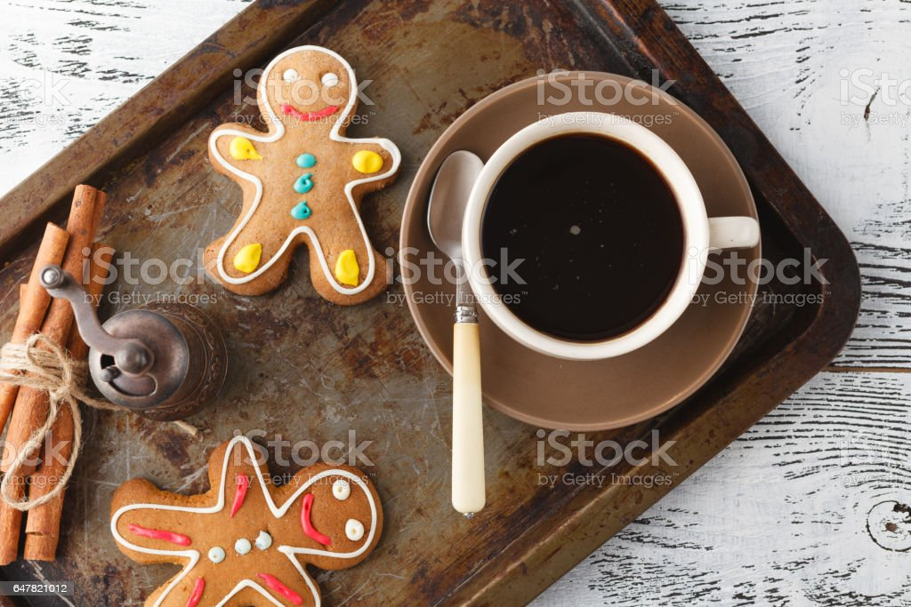 shortbread cookies on old tray with coffee stock photo