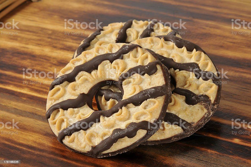 Shortbread cookies with fudge stripes royalty-free stock photo