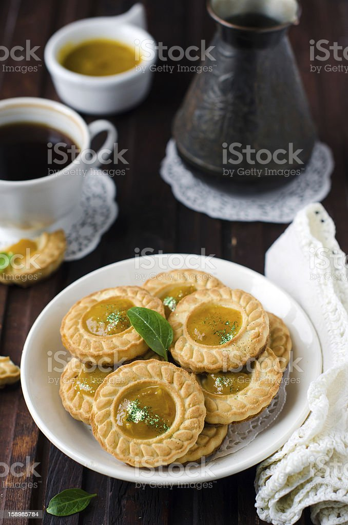 Shortbread cookies with lemon cream royalty-free stock photo