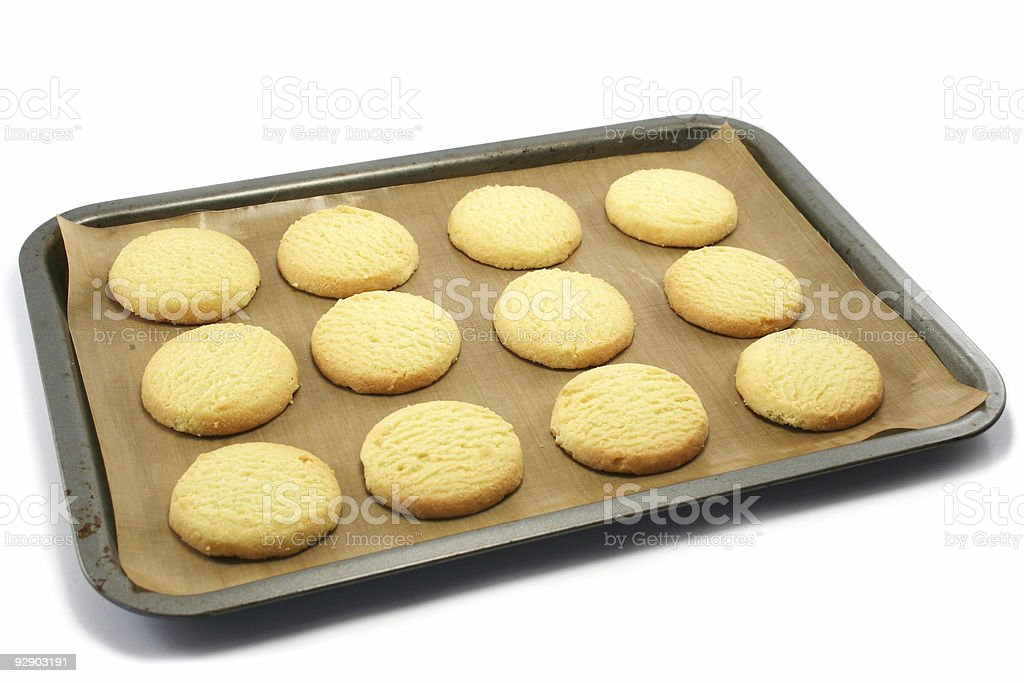 Shortbread on a Baking Tray royalty-free stock photo