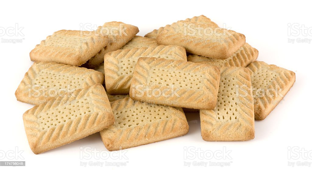 Shortbread sweet Scottish biscuits isolated on a white background royalty-free stock photo