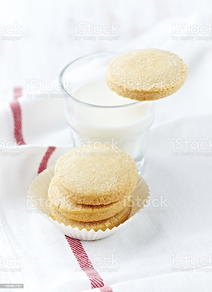 Shortbread with a glass of milk royalty-free stock photo