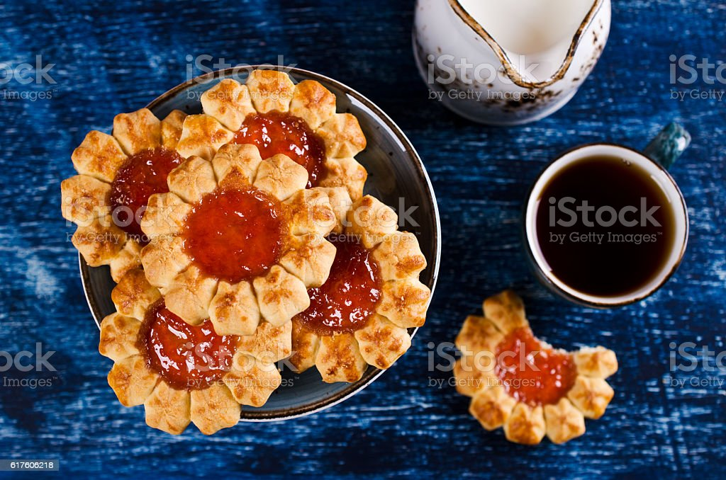 Shortbread with jam stock photo