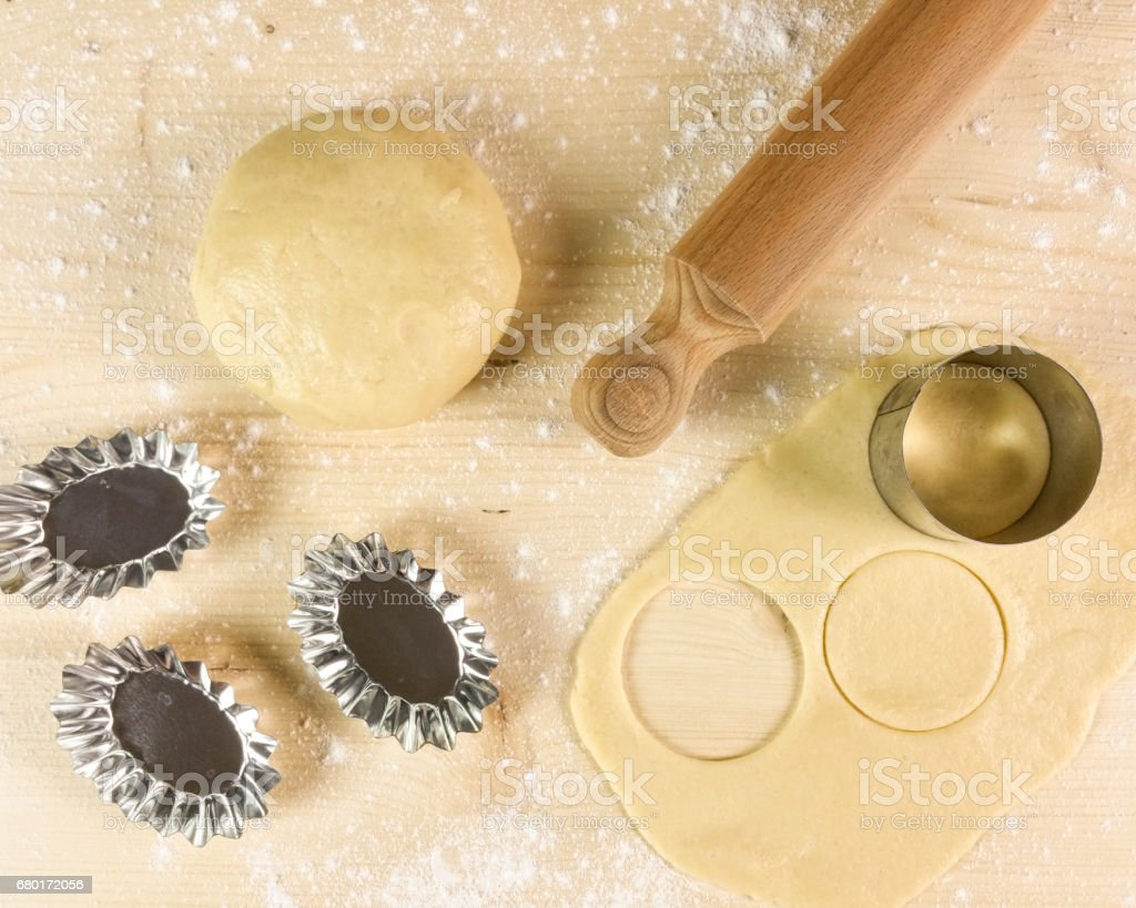 Shortcrust pastry on wooden background - top view stock photo