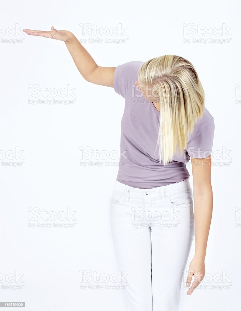 Shorter than she expected royalty-free stock photo