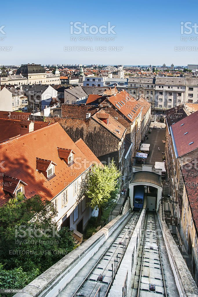 Shortest funicular in the world connects downtown and uppertown Zagreb royalty-free stock photo