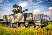 Short-range air missile on military truck