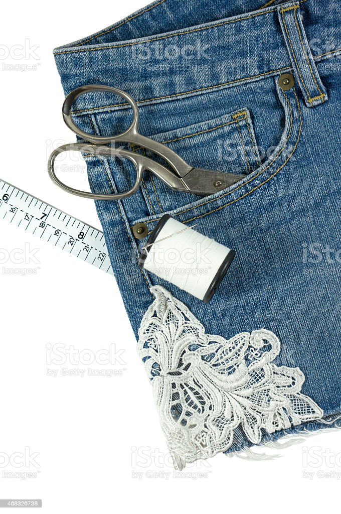 Shorts jeans with lace isolated on white stock photo