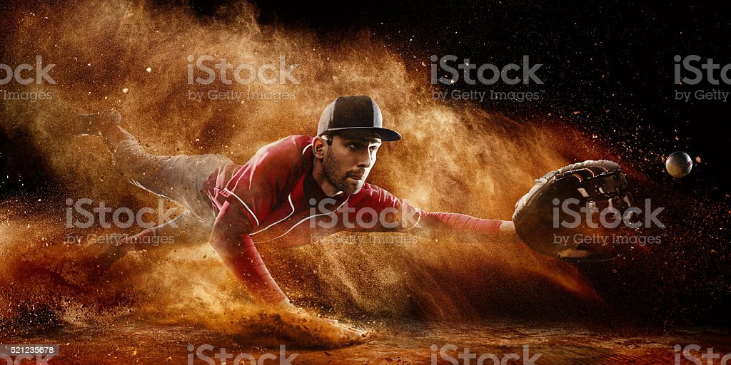 Shortstop catching stock photo